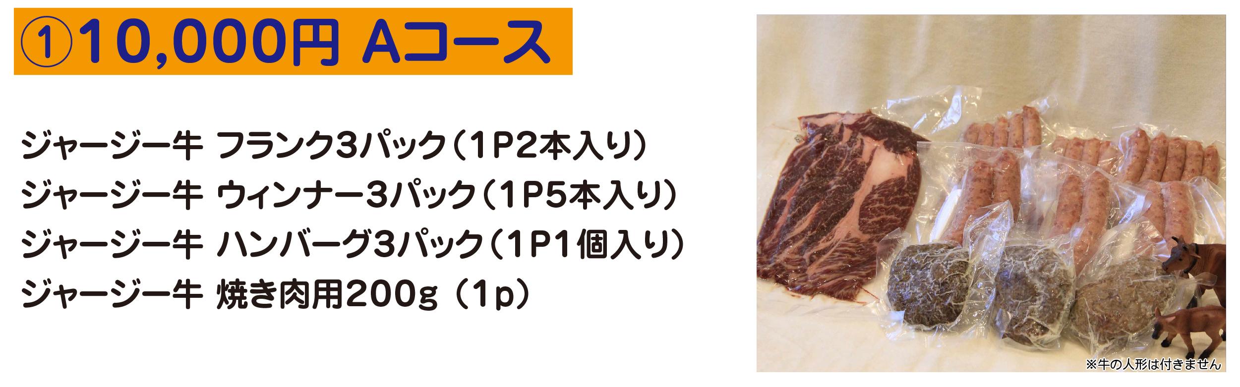 ①10,000円 Aコース ジャージー牛 フランク3パック(1P2本入り) ジャージー牛 ウィンナー3パック(1P5本入り) ジャージー牛 ハンバーグ3パック(1P1個入り) ジャージー牛 焼き肉用200g (1p)