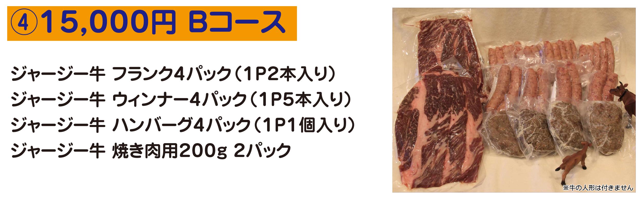④15,000円 Bコース ジャージー牛 フランク4パック(1P2本入り) ジャージー牛 ウィンナー4パック(1P5本入り) ジャージー牛 ハンバーグ4パック(1P1個入り) ジャージー牛 焼き肉用200g 2パック